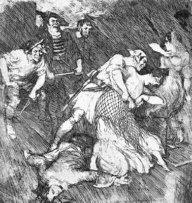 Norman Lindsay Facsimile Etching - Pirates